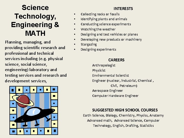 Science Technology, Engineering & MATH Planning, managing, and providing scientific research and professional and