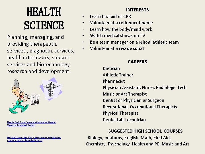 HEALTH SCIENCE Planning, managing, and providing therapeutic services , diagnostic services, health informatics, support