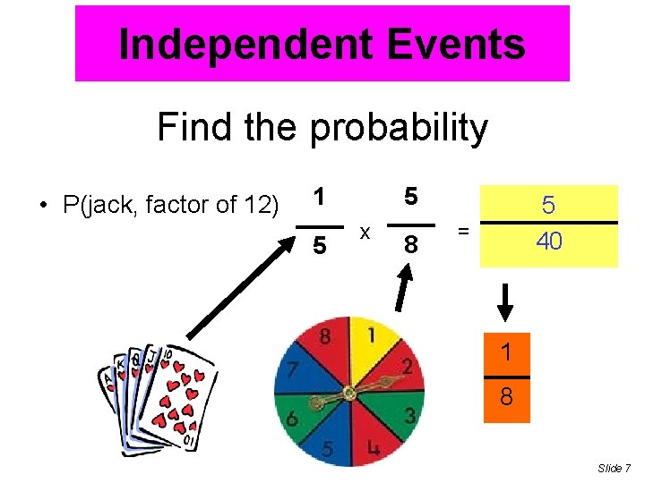 Independent Events Find the probability • P(jack, factor of 12) 1 5 5 x