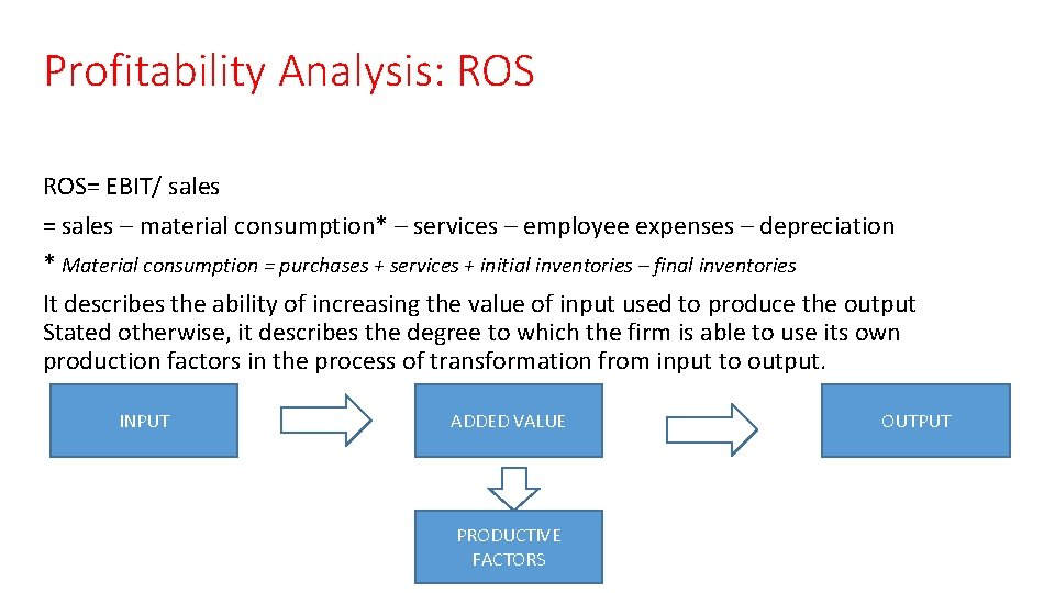 Profitability Analysis: ROS= EBIT/ sales = sales – material consumption* – services – employee