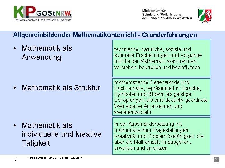 Allgemeinbildender Mathematikunterricht - Grunderfahrungen • Mathematik als Anwendung • Mathematik als Struktur • Mathematik
