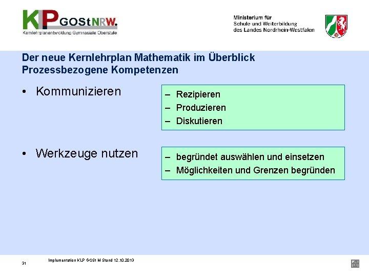 Der neue Kernlehrplan Mathematik im Überblick Prozessbezogene Kompetenzen • Kommunizieren • Werkzeuge nutzen 31