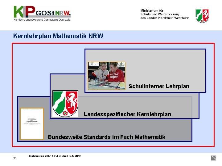 Kernlehrplan Mathematik NRW Schulinterner Lehrplan Landesspezifischer Kernlehrplan Bundesweite Standards im Fach Mathematik 47 Implementation