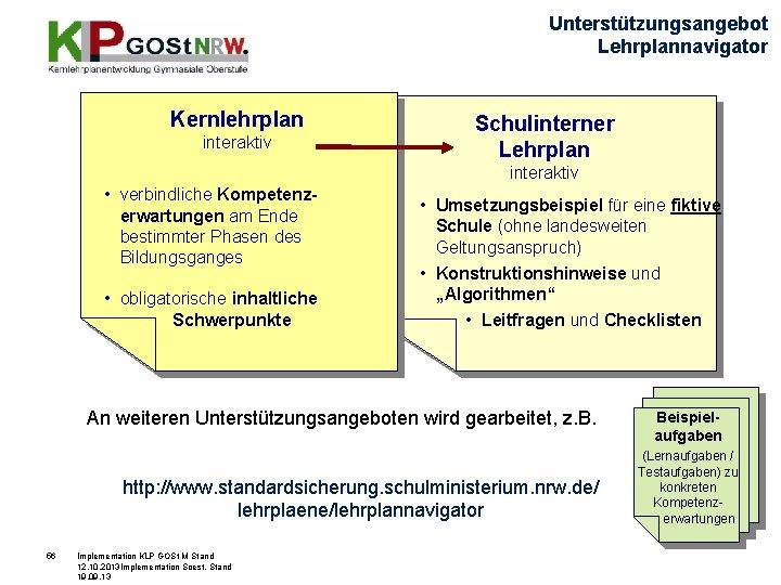 Unterstützungsangebot Lehrplannavigator Kernlehrplan interaktiv Schulinterner Lehrplan interaktiv • verbindliche Kompetenzerwartungen am Ende bestimmter Phasen
