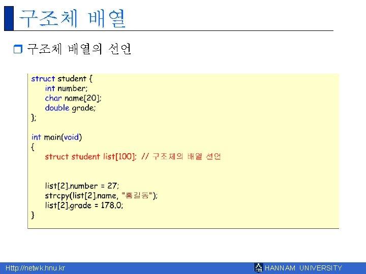 구조체 배열 r 구조체 배열의 선언 Http: //netwk. hnu. kr HANNAM UNIVERSITY