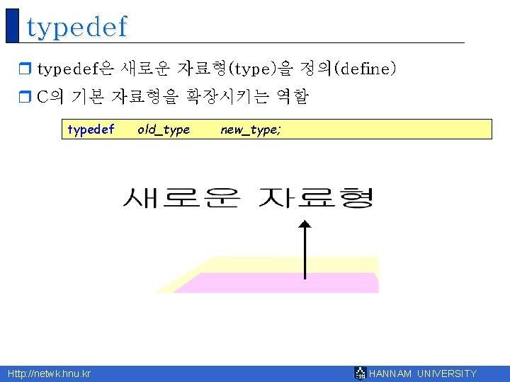 typedef r typedef은 새로운 자료형(type)을 정의(define) r C의 기본 자료형을 확장시키는 역할 typedef Http: