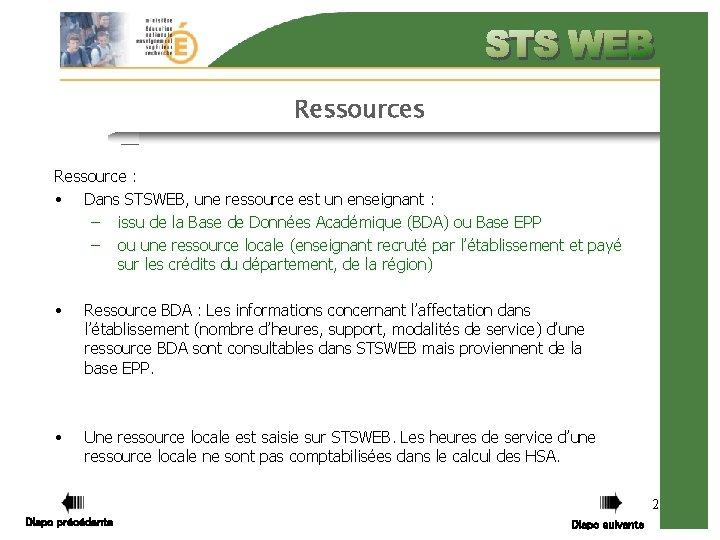 Ressources Ressource : • Dans STSWEB, une ressource est un enseignant : – issu