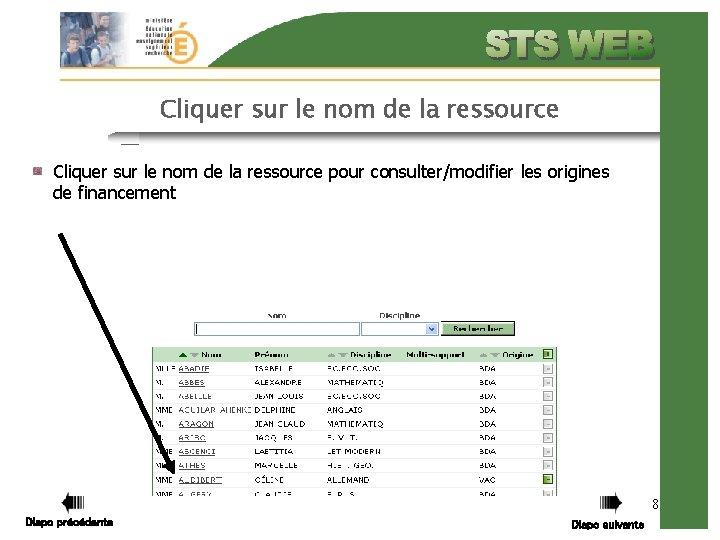 Cliquer sur le nom de la ressource pour consulter/modifier les origines de financement 8