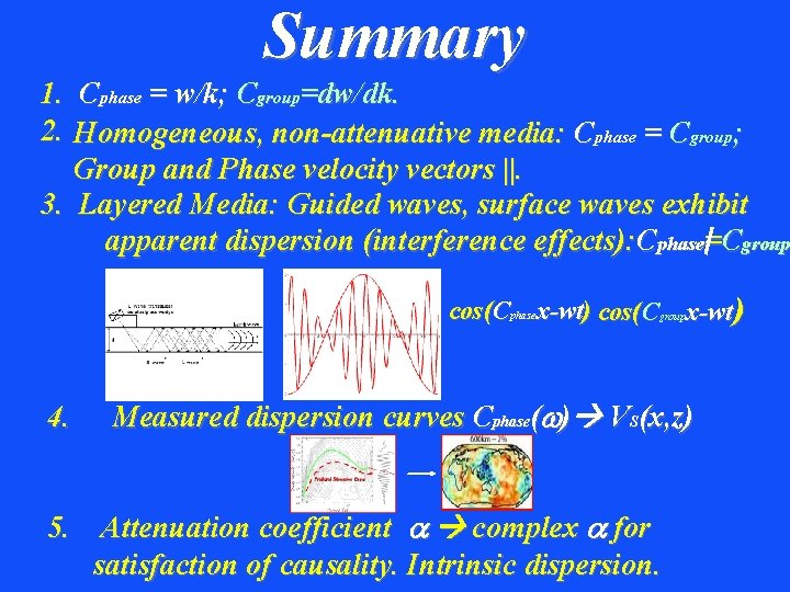 Summary 1. Cphase = w/k; Cgroup=dw/dk. 2. Homogeneous, non-attenuative media: Cphase = Cgroup; Group