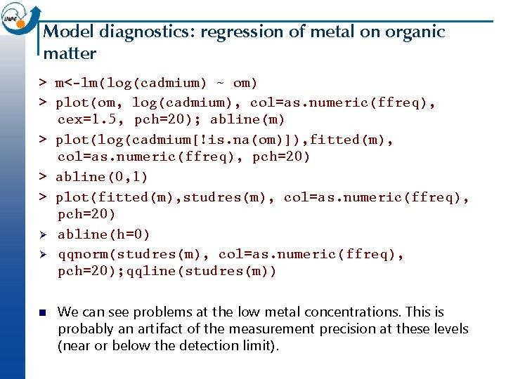 Model diagnostics: regression of metal on organic matter > m<-lm(log(cadmium) ~ om) > plot(om,