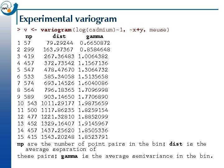 Experimental variogram > v <- variogram (log(cadmium)~1, ~x+y, meuse) np dist gamma 1 57