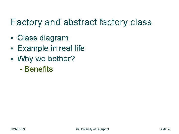 Factory and abstract factory class • Class diagram • Example in real life •