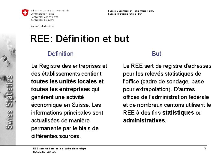 Federal Department of Home Affairs FDHA Federal Statistical Office FSO REE: Définition et but