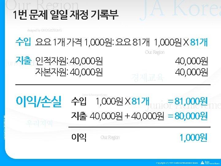 Our Region 1번 문제 일일 재정 기록부 JA Korea designed by CHOGEOSUNG 수입 요요