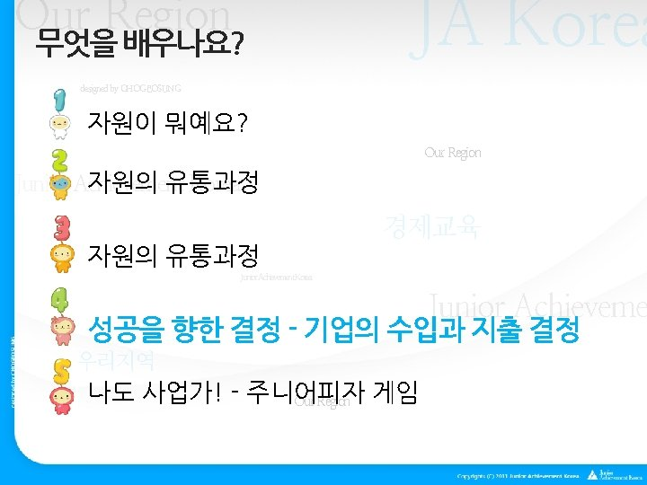 Our Region 무엇을 배우나요? JA Korea designed by CHOGEOSUNG 자원이 뭐예요? Our Region 자원의