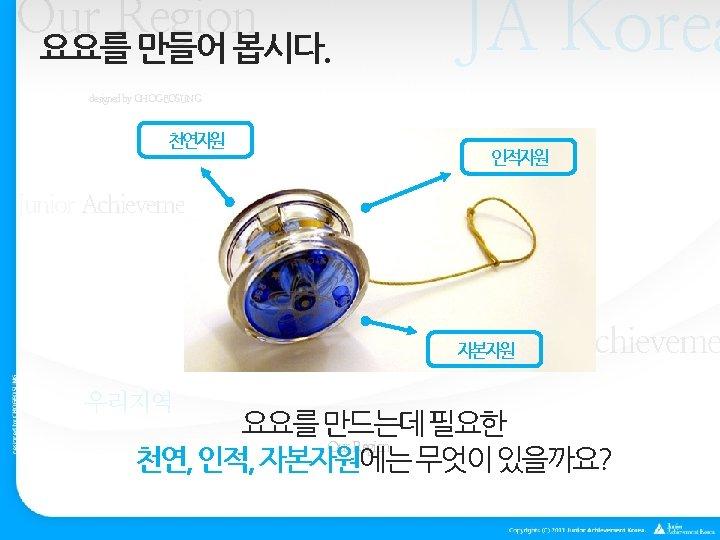 Our Region 요요를 만들어 봅시다. JA Korea designed by CHOGEOSUNG 천연자원 인적자원 Our Region