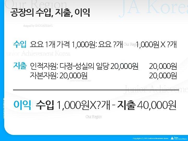 Our Region 공장의 수입, 지출, 이익 JA Korea designed by CHOGEOSUNG 수입 요요 1개