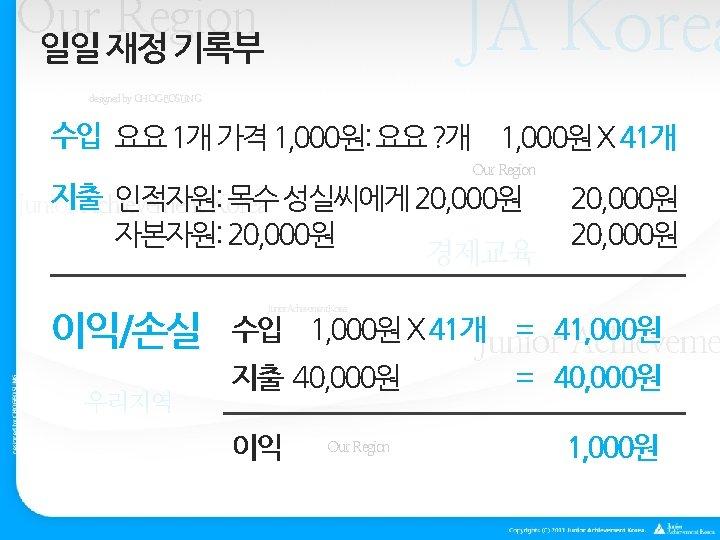 JA Korea Our Region 일일 재정 기록부 designed by CHOGEOSUNG 수입 요요 1개 가격