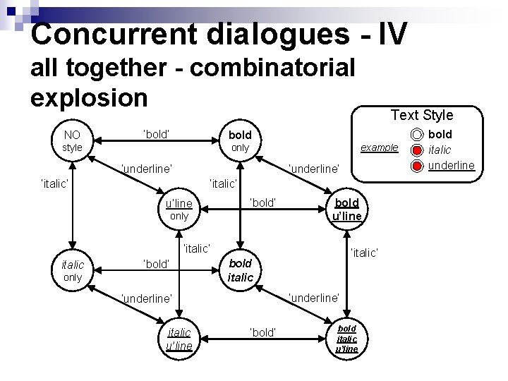 Concurrent dialogues - IV all together - combinatorial explosion NO 'bold' bold style only