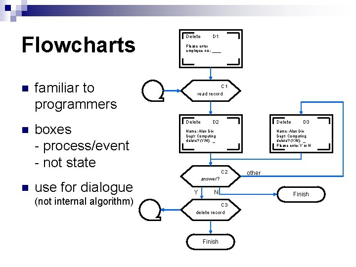 Flowcharts n n n familiar to programmers boxes - process/event - not state use
