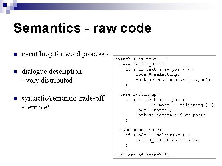 Semantics - raw code n event loop for word processor n dialogue description -