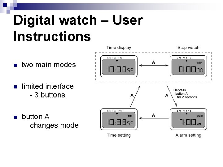 Digital watch – User Instructions n two main modes n limited interface - 3