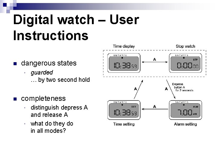 Digital watch – User Instructions n dangerous states • n guarded … by two