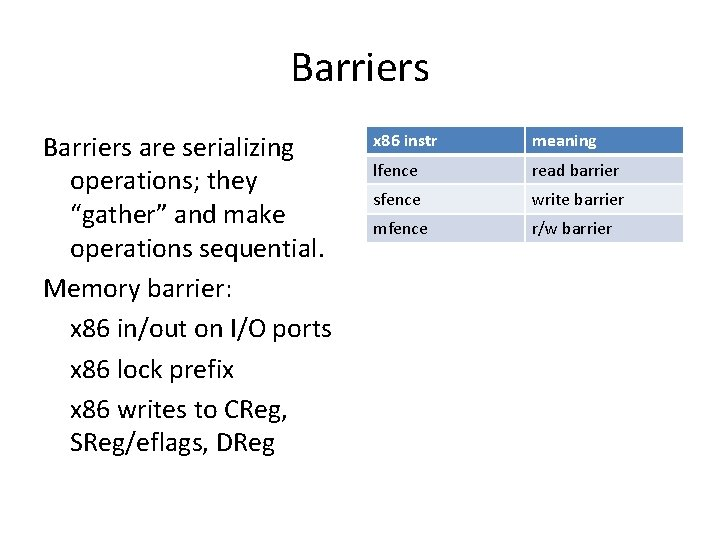 """Barriers are serializing operations; they """"gather"""" and make operations sequential. Memory barrier: x 86"""