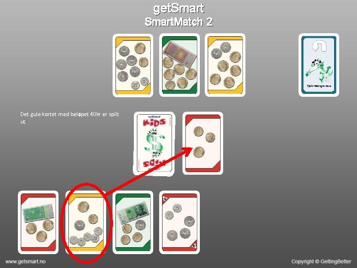 get. Smart. Match 2 Det gule kortet med beløpet 40 kr er spilt ut.