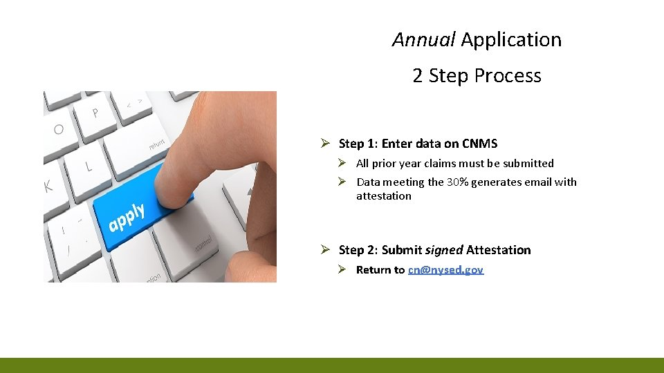 Annual Application 2 Step Process Ø Step 1: Enter data on CNMS Ø All