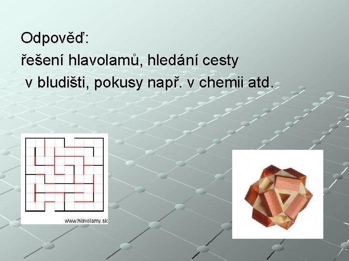 Odpověď: řešení hlavolamů, hledání cesty v bludišti, pokusy např. v chemii atd.