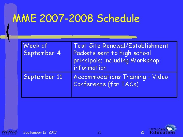 MME 2007 -2008 Schedule Week of September 4 September 11 September 12, 2007 Test