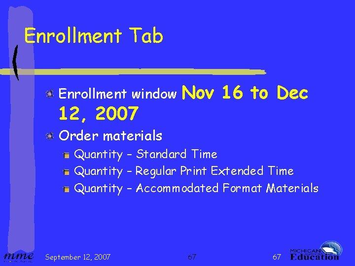Enrollment Tab Enrollment window 12, 2007 Nov 16 to Dec Order materials Quantity –