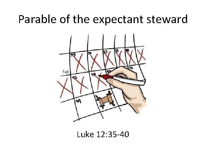 Parable of the expectant steward Luke 12: 35 -40