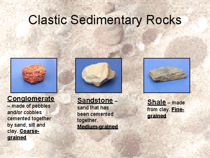 Clastic Sedimentary Rocks Conglomerate – made of pebbles and/or cobbles cemented together by sand,