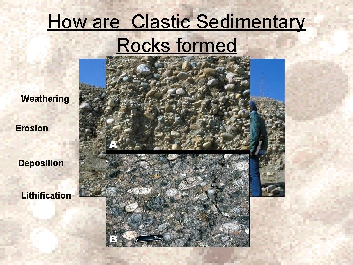 How are Clastic Sedimentary Rocks formed Weathering Erosion Deposition Lithification