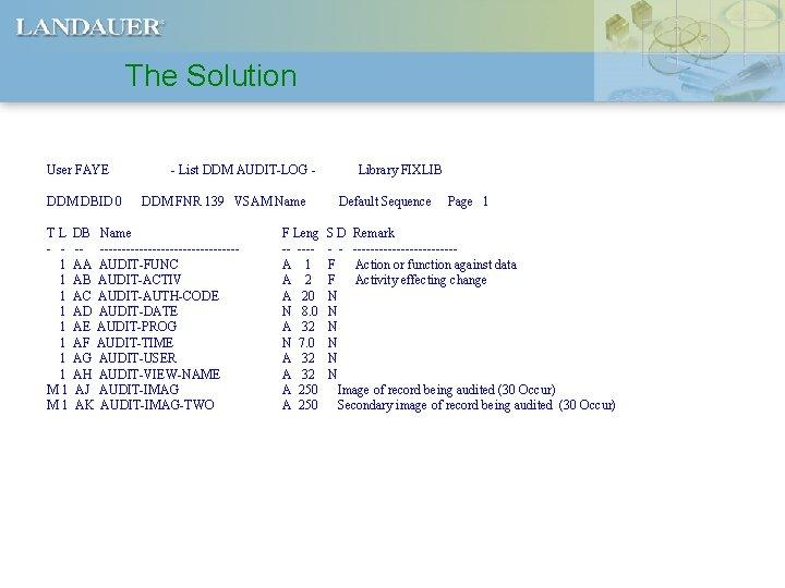 The Solution User FAYE DDM DBID 0 TL - 1 1 1 1 M