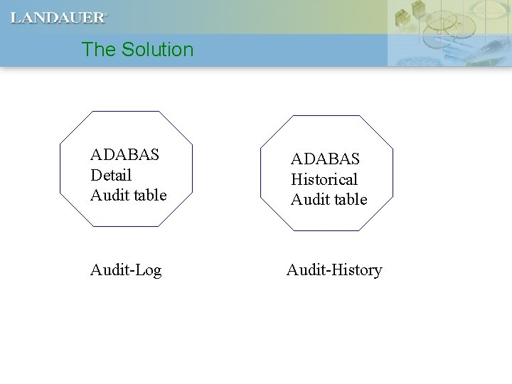 The Solution ADABAS Detail Audit table ADABAS Historical Audit table Audit-Log Audit-History
