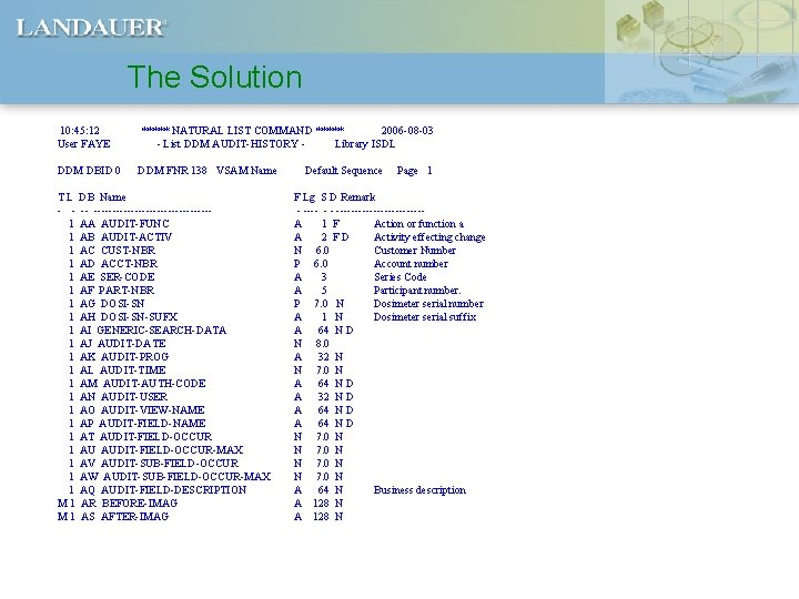 The Solution 10: 45: 12 User FAYE ***** NATURAL LIST COMMAND ***** 2006 -08