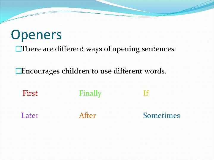 Openers �There are different ways of opening sentences. �Encourages children to use different words.