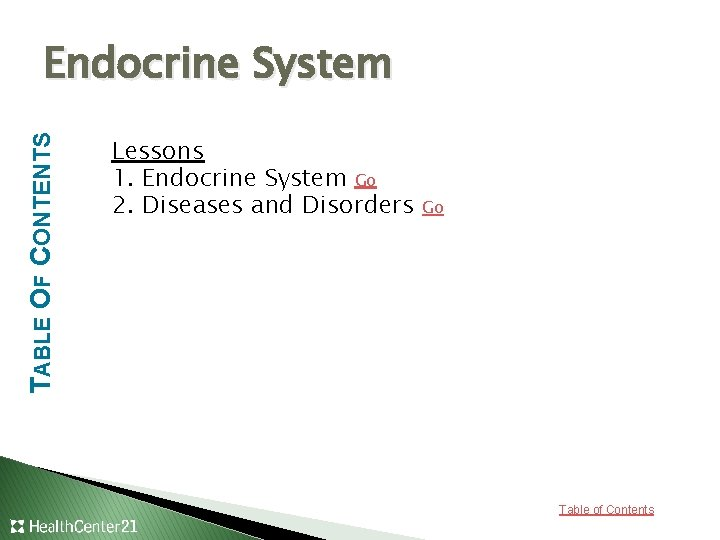 TABLE OF CONTENTS Endocrine System Lessons 1. Endocrine System Go 2. Diseases and Disorders