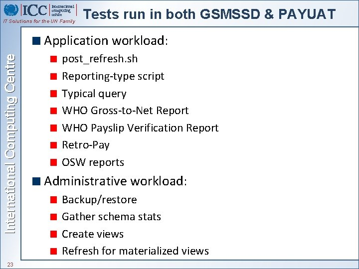 international computing centre IT Solutions for the UN Family Tests run in both GSMSSD
