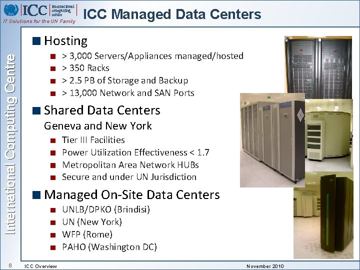 international computing centre IT Solutions for the UN Family ICC Managed Data Centers International