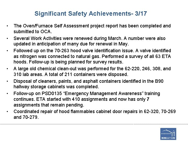 Significant Safety Achievements- 3/17 • • The Oven/Furnace Self Assessment project report has been