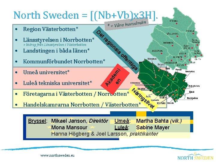 North Sweden = [(Nb+Vb)x 3 H]. än udm * = Våra huv • Region