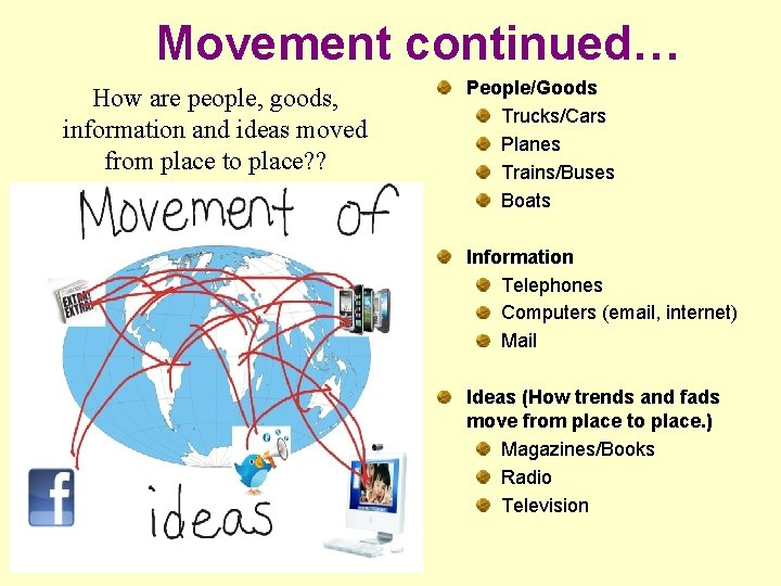 Movement continued… How are people, goods, information and ideas moved from place to place?