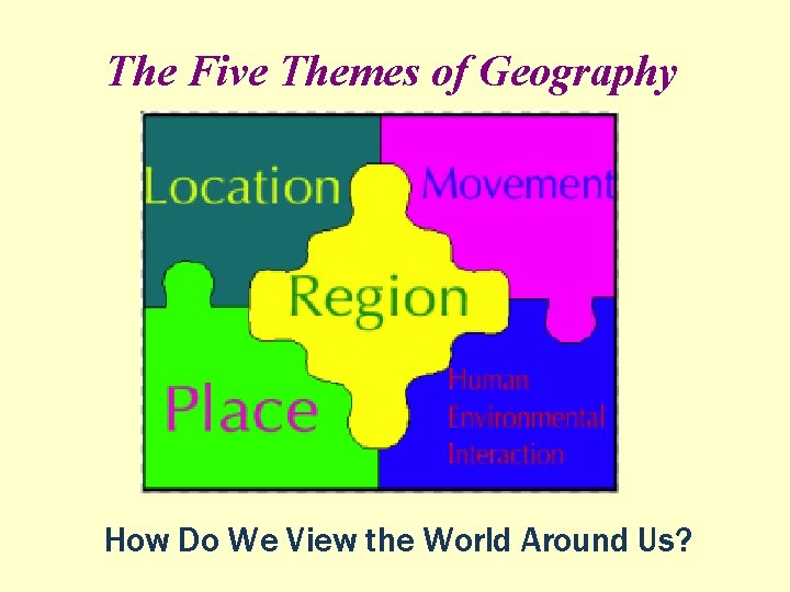 The Five Themes of Geography How Do We View the World Around Us?