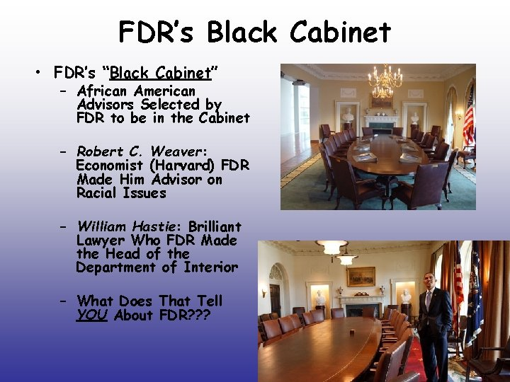 """FDR's Black Cabinet • FDR's """"Black Cabinet"""" – African American Advisors Selected by FDR"""
