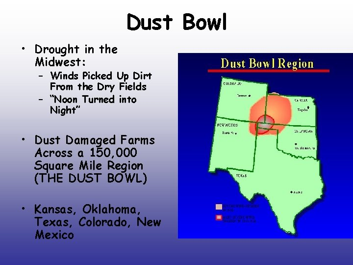 Dust Bowl • Drought in the Midwest: – Winds Picked Up Dirt From the