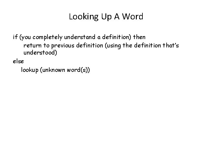 Looking Up A Word if (you completely understand a definition) then return to previous